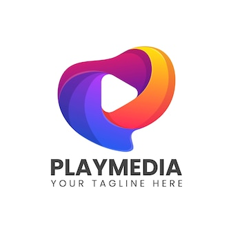 Spielen sie buntes abstraktes logo der medien
