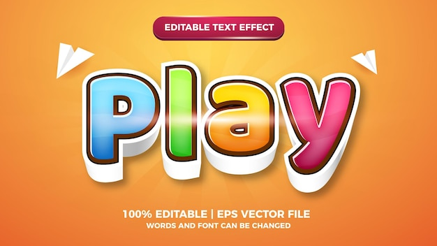 Spielen sie cartoon comic 3d bearbeitbare textstil-effektvorlage