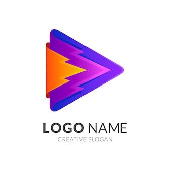 Spielen sie das logo mit der farbenfrohen designvorlage