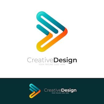 Spielen sie das logo mit einfachem liniendesign