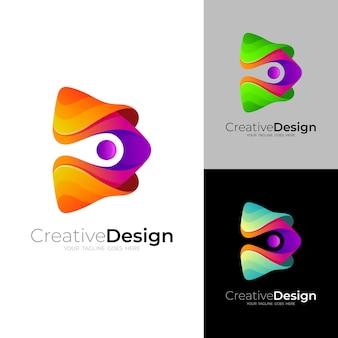 Spielen sie das logo mit farbenfroher designtechnologie im 3d-stil