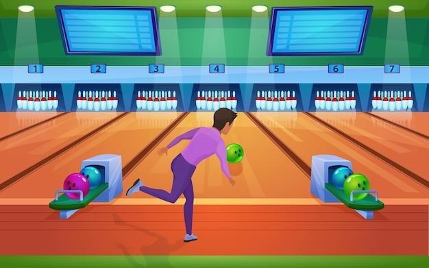 Spielen sie die flache illustration des bowlingspiels.