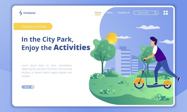 Spielen sie einen roller, um aktivitäten in einem stadtpark auf einer landingpage-vorlage zu genießen