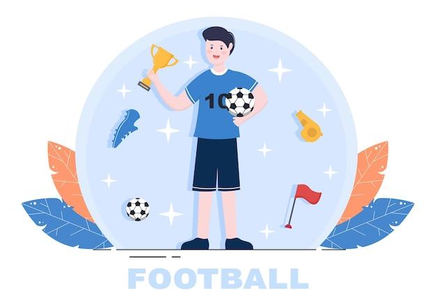 Spielen sie fußball mit fußballspielern, feiern sie ihren sieg in spielen und holen sie sich goldtrophäen. vektorillustration