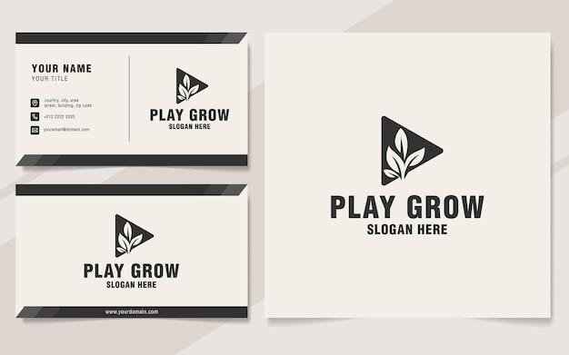 Spielen sie grow-logo-vorlage im monogramm-stil
