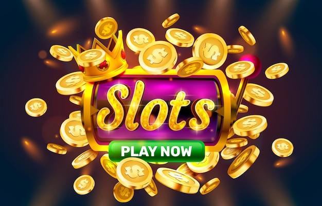 Spielen sie jetzt slots golden coins casino slot zeichen maschine nacht jackpot vegas vektor