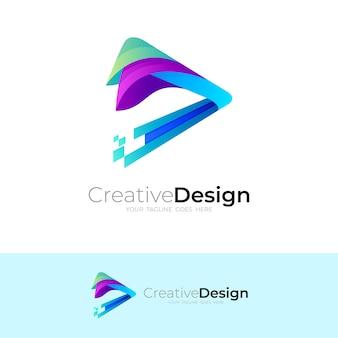 Spielen sie logo und technologie-designillustration, 3d bunt