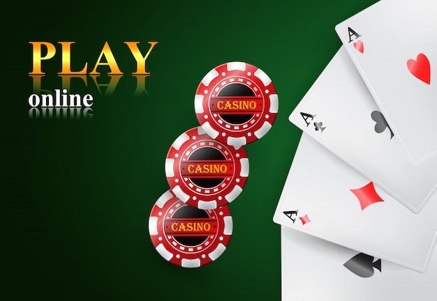 Spielen sie online-schriftzug, vier asse und casino-chips. casino-business-werbung