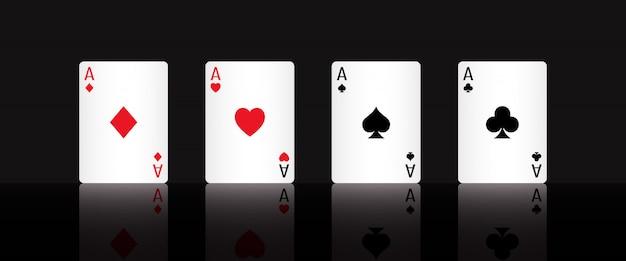 Spielen sie poker-karten-ass mit schwarzem hintergrund