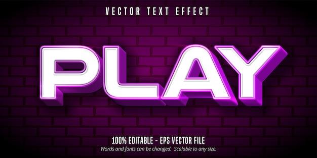 Spielen sie text ab, glänzender bearbeitbarer texteffekt