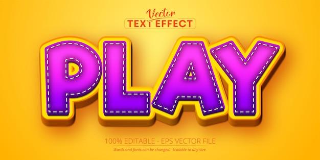 Spielen sie text, bearbeitbaren texteffekt im cartoon-stil