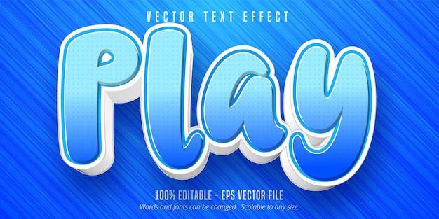 Spielen sie text, bearbeitbaren texteffekt im cartoon-stil Premium Vektoren