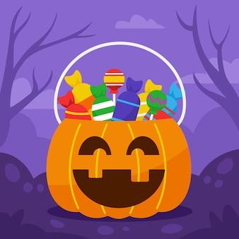 Spielen sie von tür zu tür süßes oder saures und füllen sie den kürbiseimer mit süßigkeiten.