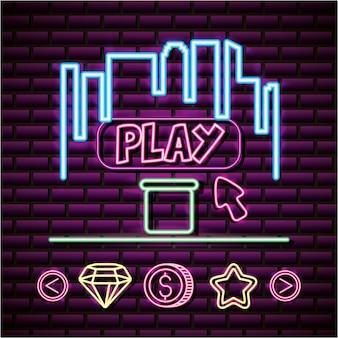 Spielen und skyline im neon-stil, videospiele im zusammenhang