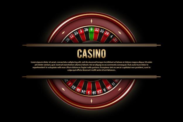Spielende fahnen mit roulette-rad auf dunkelheit. casino-plakat-vorlage mit goldenen elementen. illustration
