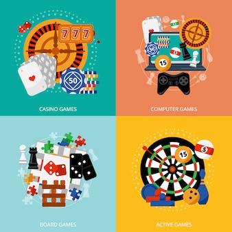 Spielende spiele 4 flache ikonen quadrat