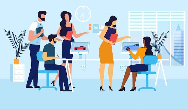 Spielentwicklung team flat illustration