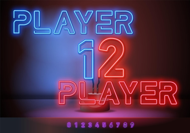 Spieler 2 und spieler 1 neonreklame, helles schild, helles banner. spiellogo neon, emblem. vektor-illustration