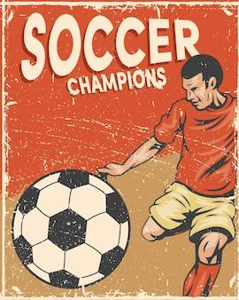 Spieler im fußballsportplakat