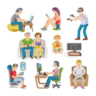 Spieler mann oder frau mit kindercharakter, der mit virtuellem realitätsbrillenillustrationssatz von leuten spielt, die im virtuellen spiel auf weißem hintergrund spielen