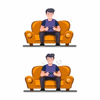 Spieler mit zustand fit und erschöpft. mann, der im sofa mit dem halten des joystickspiels bis zur müden symbolsatzkonzeptillustration auf weißem hintergrund sitzt