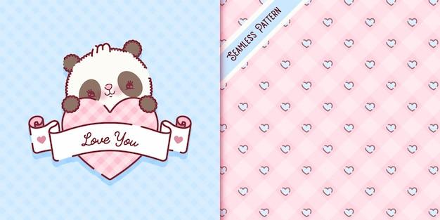 Spielerische babypanda-bärnkarikatur mit nahtlosem muster des herzens premium-vektor
