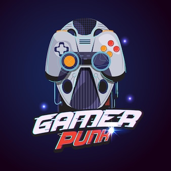 Spielerlogo. roboterkopf mit gamer-controller