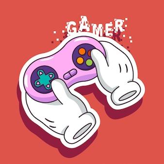 Spielervektorillustration mit joystick in den karikaturhänden.