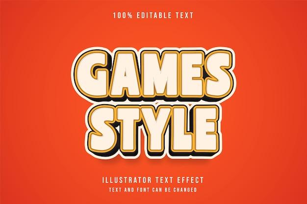 Spielestil, 3d-bearbeitbarer texteffekt-gelbweiß-abstufungs-comicstil
