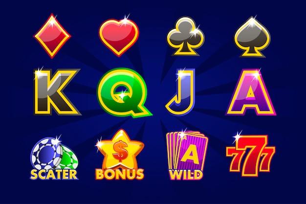 Spielesymbole von kartensymbolen für spielautomaten oder kasinos. spielkasino, slot, benutzeroberfläche