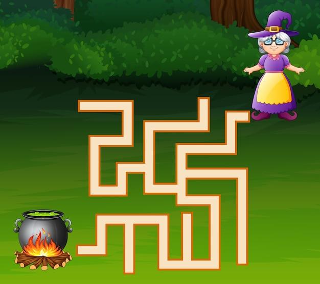 Spielhexenlabyrinth finden ihren weg zu dem für einen kessel
