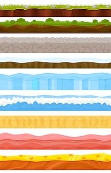 Spielhintergrundkarikaturlandschaft in der sommer- oder winterschnittstelle gamification und spieleszene grasstein-eishintergrundillustrationssatz des meeresunterwasserozeans oder der wüstentapete