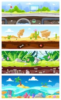 Spielhintergrundvektor-cartoon-landschaftsschnittstelle gamification und stadtbild oder städtische spieleszene hintergrundillustrationssatz von unterwasserozean- oder wüstentapete