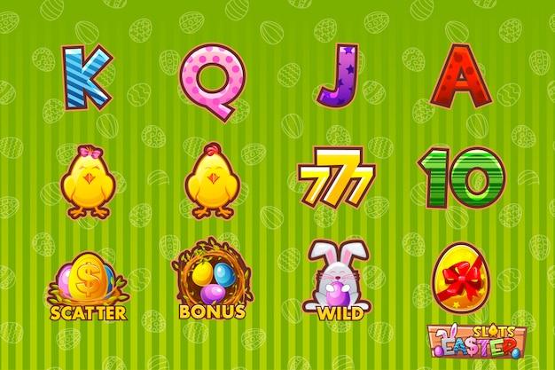 Spielikone der ostersymbole für spielautomaten und eine lotterie oder ein kasino. cartoon set 12 osterikonen. spiel casino, slot, ui