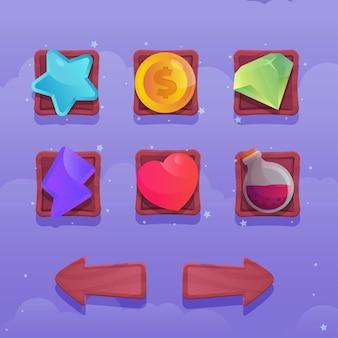 Spielillustration schaltflächenobjekte zum erstellen verschiedener spiele