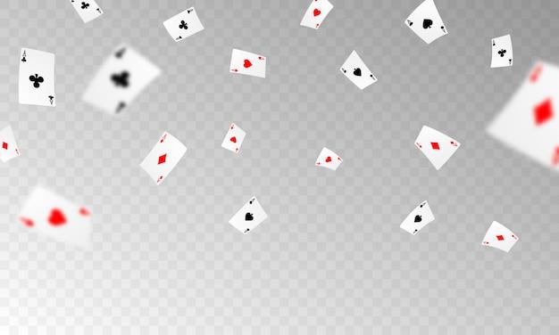 Spielkarte. gewinnende pokerhand-casino-chips mit realistischen spielmarken, bargeld für roulette oder poker,