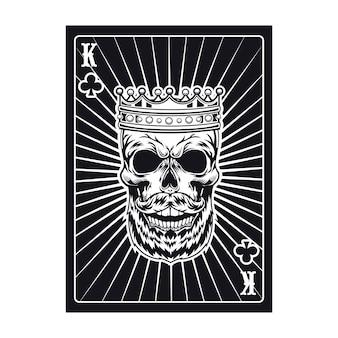 Spielkarte mit aggressivem schädel. schwarzer könig. verein