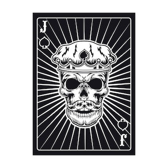 Spielkarte mit jackschädel in der krone. spaten, königlicher hut