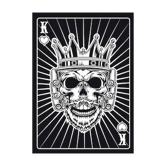 Spielkarte mit königlichem schädel. schwarzer könig