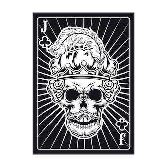Spielkarte mit schädel von jack in krone mit feder. club, königlicher hut