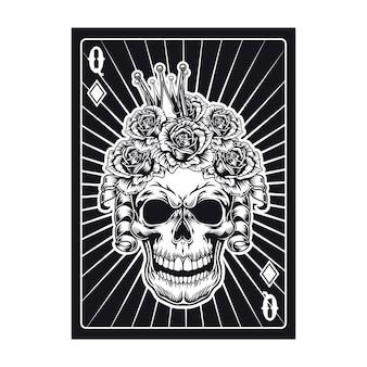Spielkarte mit schwarzem königinschädel. diamant