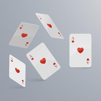 Spielkarten fallen auf hellen hintergrund. isometrisch