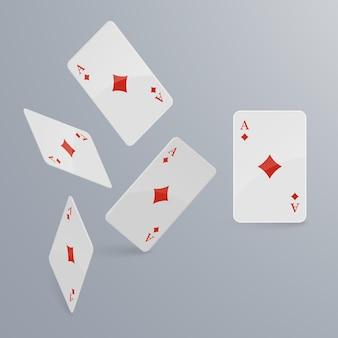 Spielkarten fallen auf hellen hintergrund.