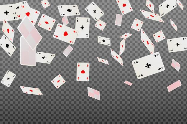 Spielkarten fallen auf transparenten hintergrund.