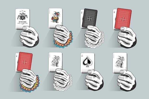 Spielkarten-illustrationsset halten