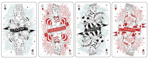 Spielkarten königinnen gesetzt