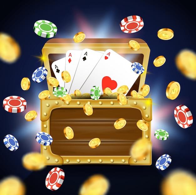 Spielkarten mit vier assen im hölzernen kasten.