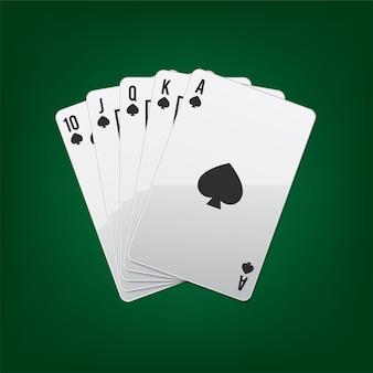 Spielkarten royal flush