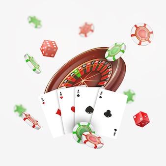 Spielkarten und pokerchips fliegen casino mit unscharfen elementen. kasinoroulette auf weiß. illustration.