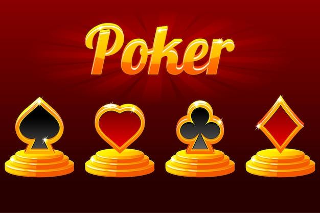 Spielkartensymbole und poker. anzug von spielkarten.